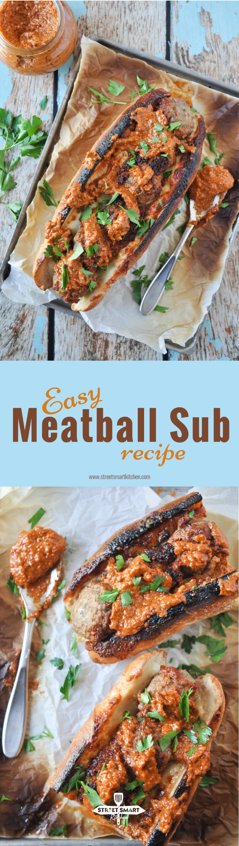 Meatballs stuffed into a loaf of demi baguette lined with provolone cheese, broiled until the cheese is melted and bubbly, then served with a couple spoonfuls of Chipotle Pecan Pesto and fresh parsley, this easy meatball sub recipe only requires 5 ingredients and 10 minutes of your precious time!