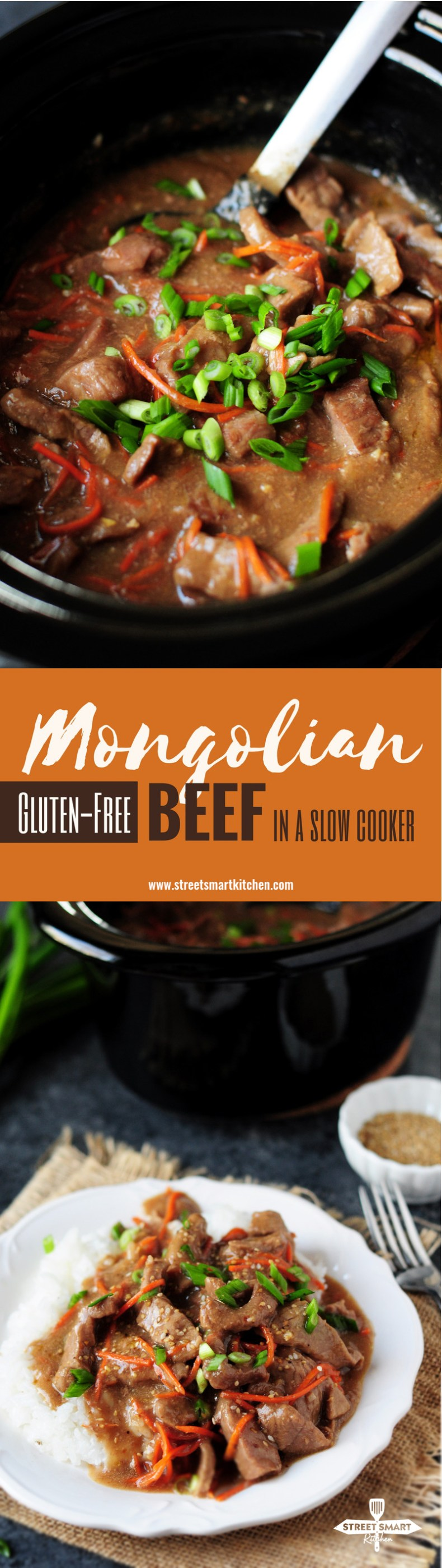 Mongolian beef recipe made gluten free in a slow cooker! This is a perfect recipe for slow cooker beginners or for those who just want a simple dump meal.