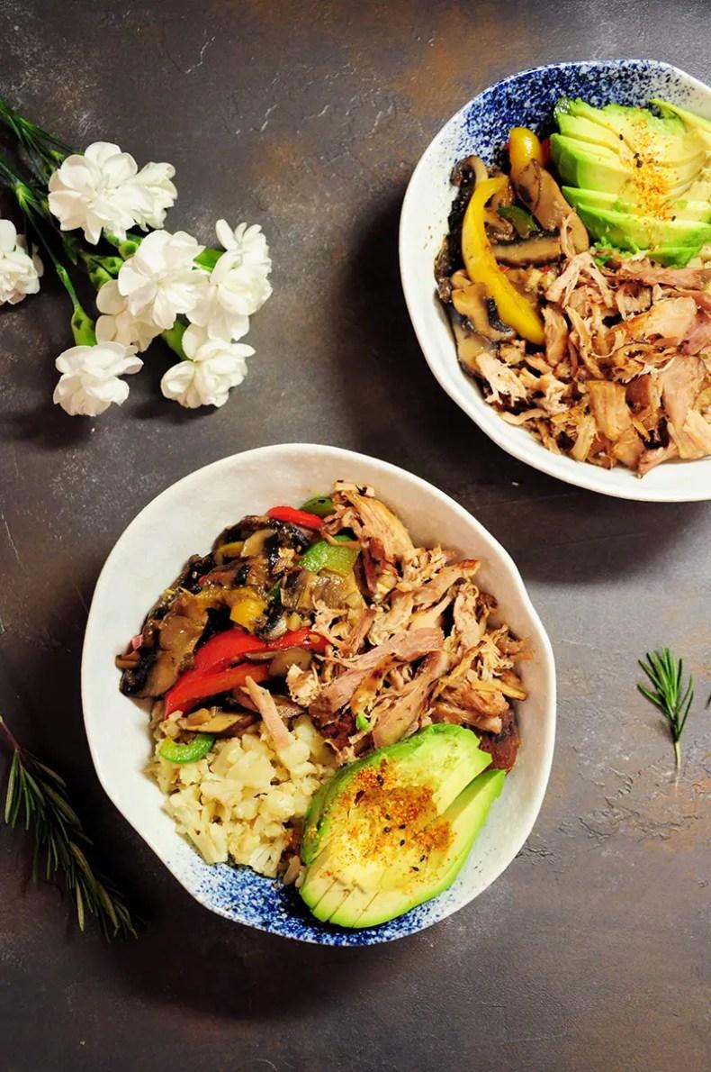 Cauliflower Rice Bowl with Sous Vide Pork Shoulder