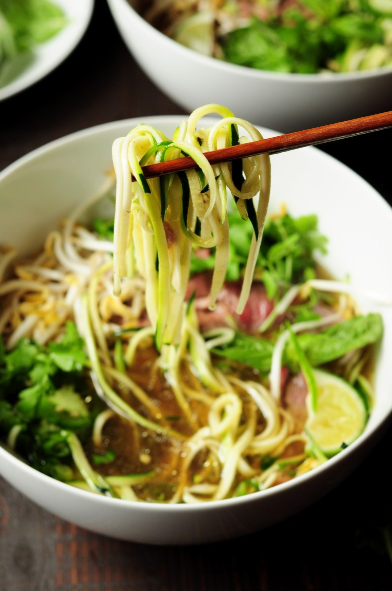 Learn how to make pho with zucchini noodles and bone broth in just 30 minutes. Once you have learned the technique, you'll want to make pho ALL THE TIME.