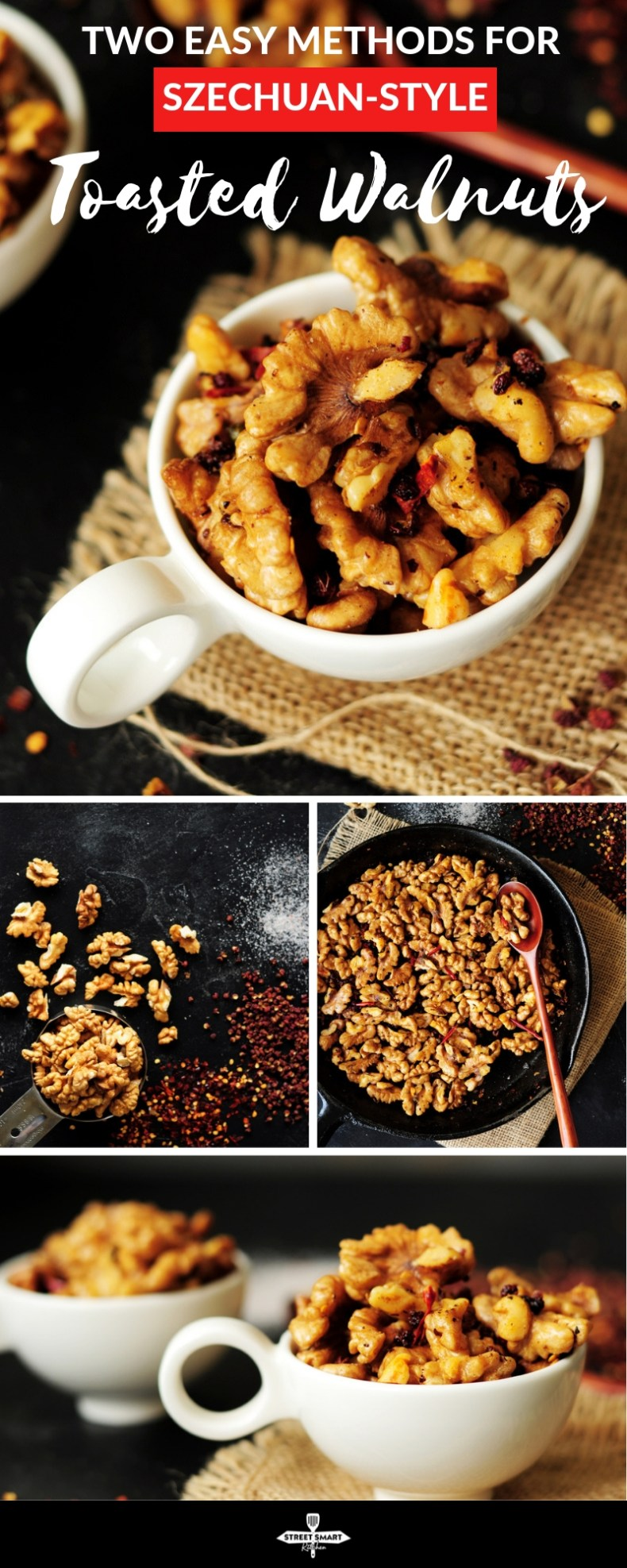 Two easy methods to show you how to toast walnuts, or any nuts, plus a recipe for a spicy and delicious Szechuan-style toasted walnuts.