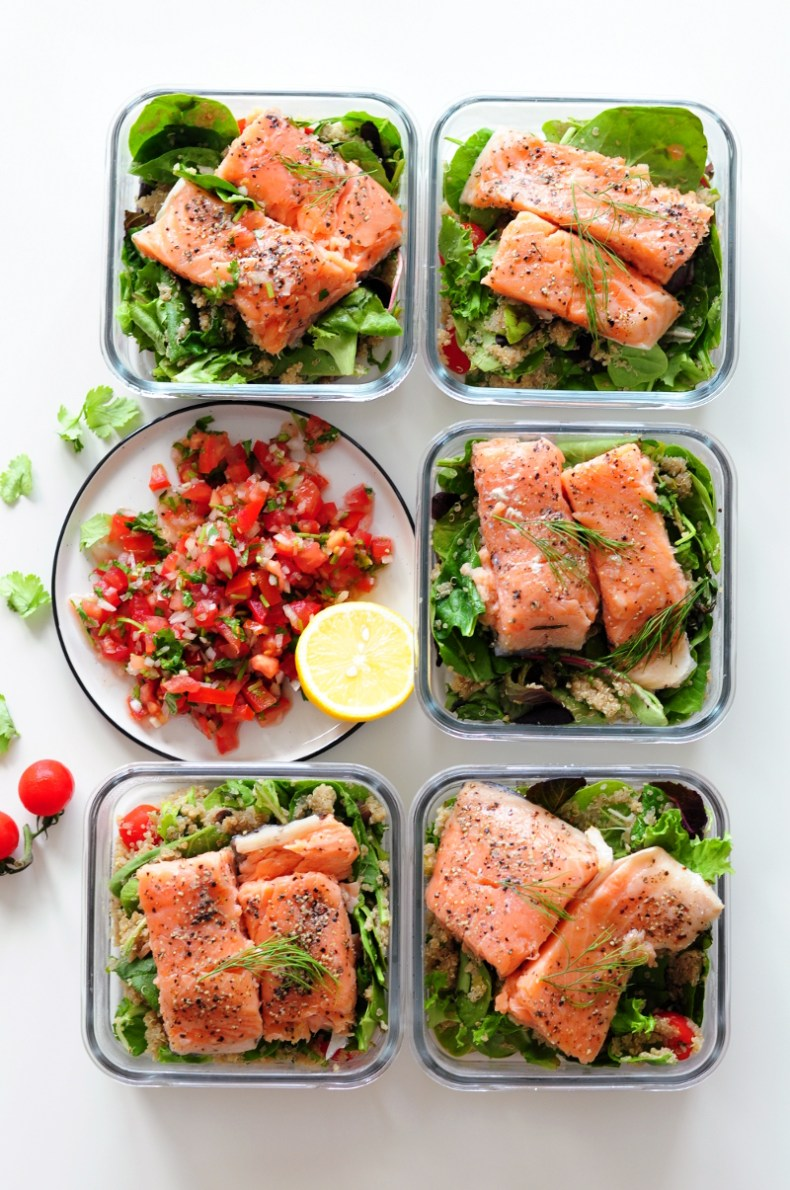 Sous vide salmon fillets with crispy skin paired with classic pico de gallo and a simple quinoa salad, this healthy and delicious meal is loaded with protein, omega-3 fatty acids, and vitamins.