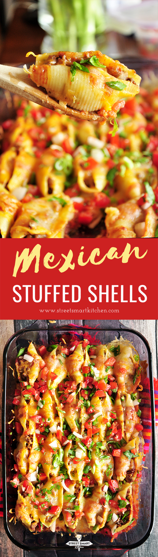 These Mexican stuffed shells are a fun twist on your traditional Mexican meal: full of spice, packed with flavor, and guaranteed to be a crowd pleaser.