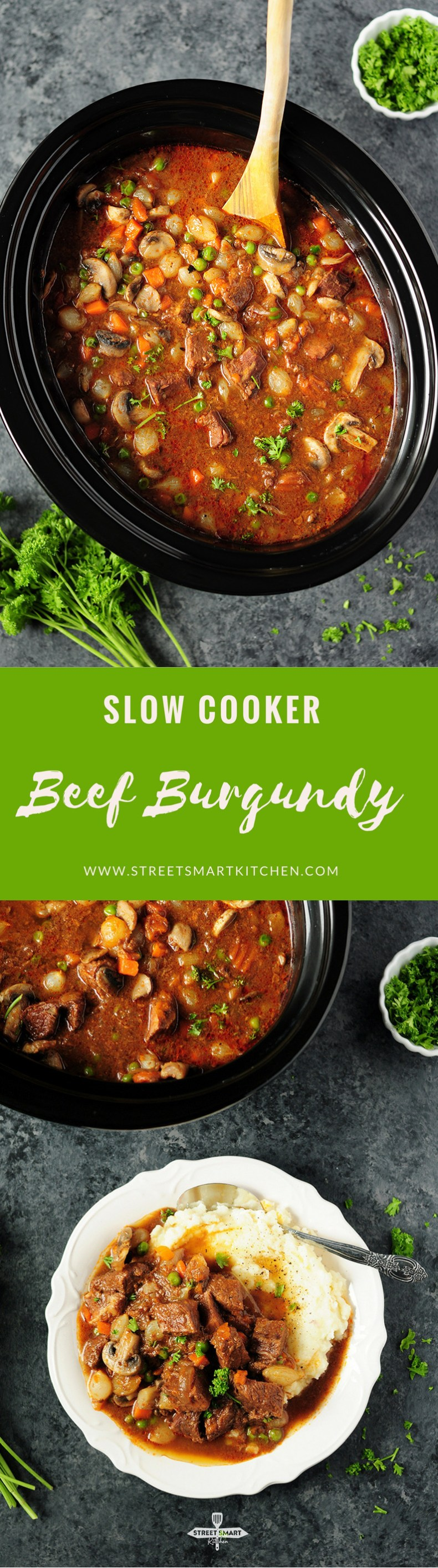 For a weeknight meal, this savory and scrumptious beef burgundy can be easily put together in a slow cooker to simplify the process!