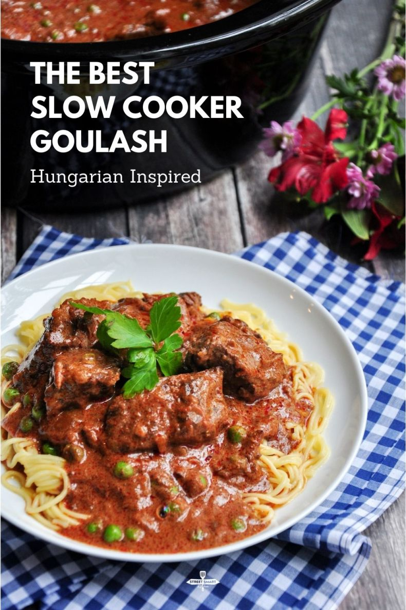 The best slow cooker goulash, featuring savory ingredients like paprika, beef broth, and chuck eye roast. Only 20 minutes of prep time and 8 simple steps.