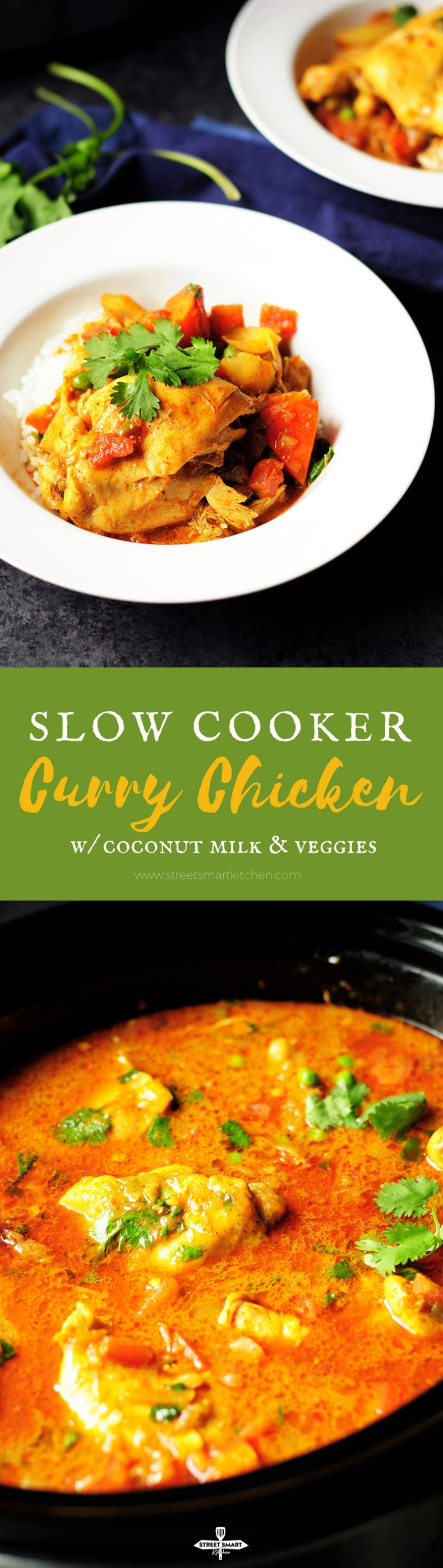 Curry chicken, potatoes, carrots slow cooked in a fried curry sauce simmered in a rich homemade chicken broth and coconut milk.
