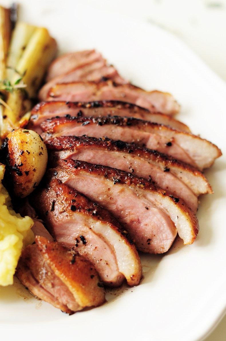 Juicy sous vide duck breast served with fluffy garlic mashed potatoes and braised leeks simmered in a white wine sauce. This date-night dinner is on point!