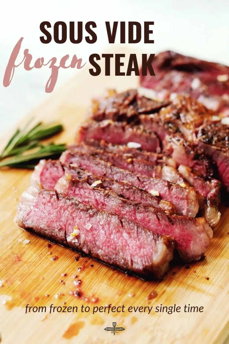 Sous vide frozen steak