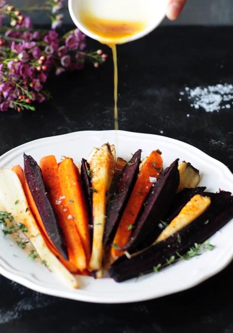 Drizzle a honey-butter glaze onto sous vide carrots