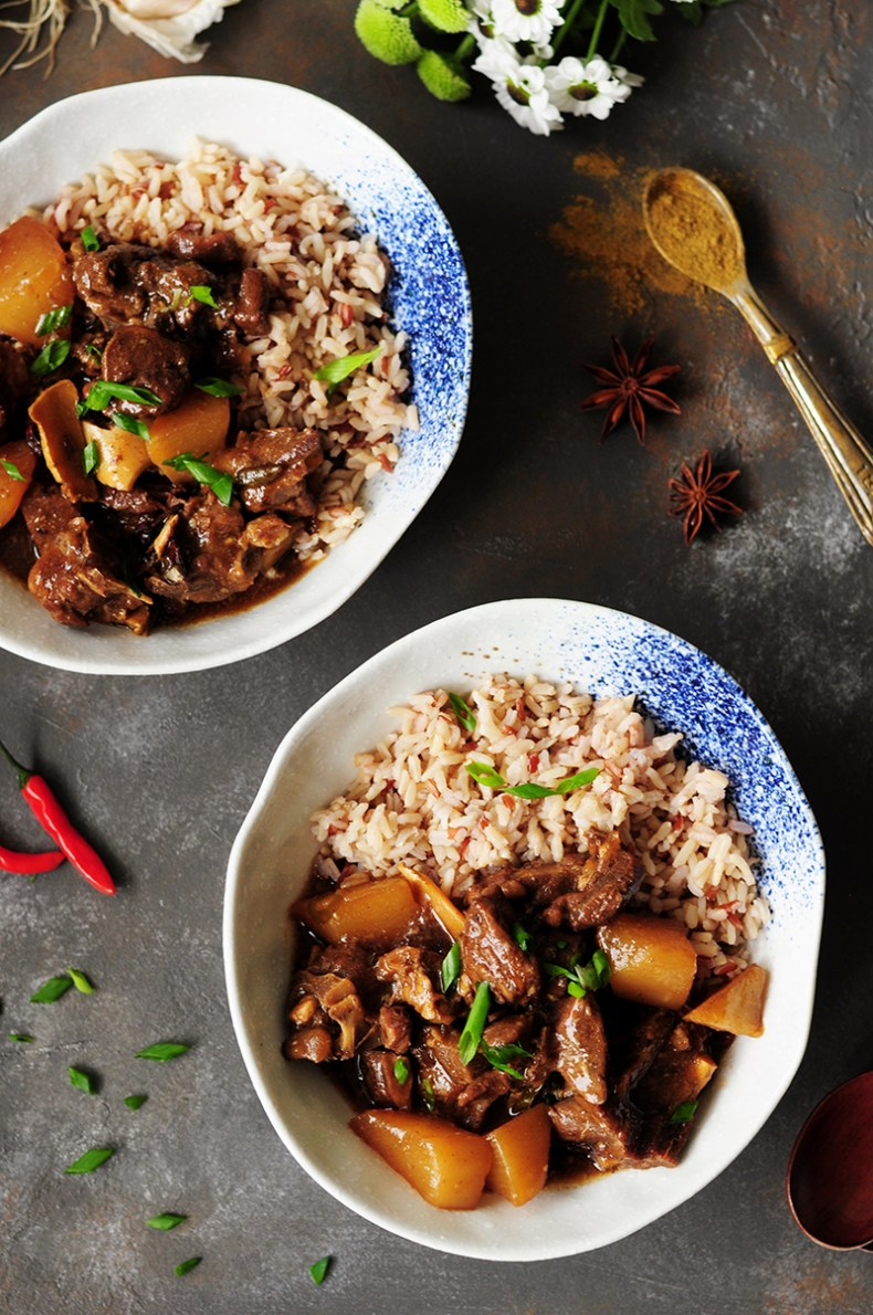 Winter comfort food done right: This spicy, Asian-inspired lamb stew is flavored with Asian sauces, Thai chilis, star anise to warm you up from the inside.
