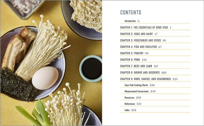 Table of Contents of Complete Sous Vide Cookbook