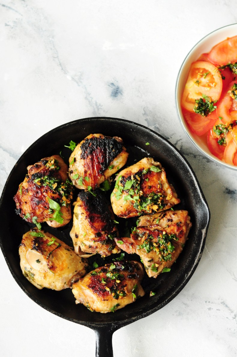Thai night can be healthy, low carb and delicious with these Thai sous vide chicken thighs served over a bed of tasty tomato salad.