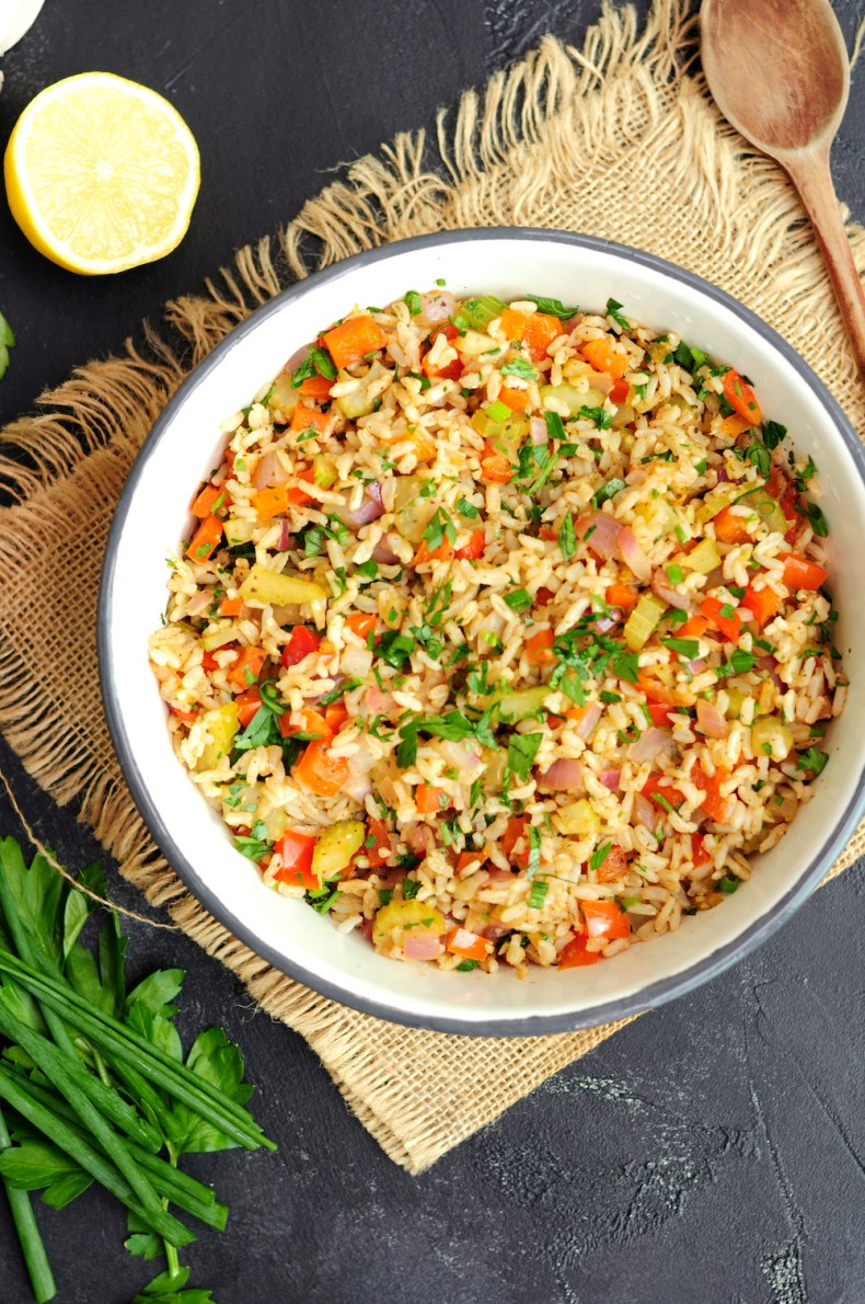 Meatless Cajun rice in a large bowl