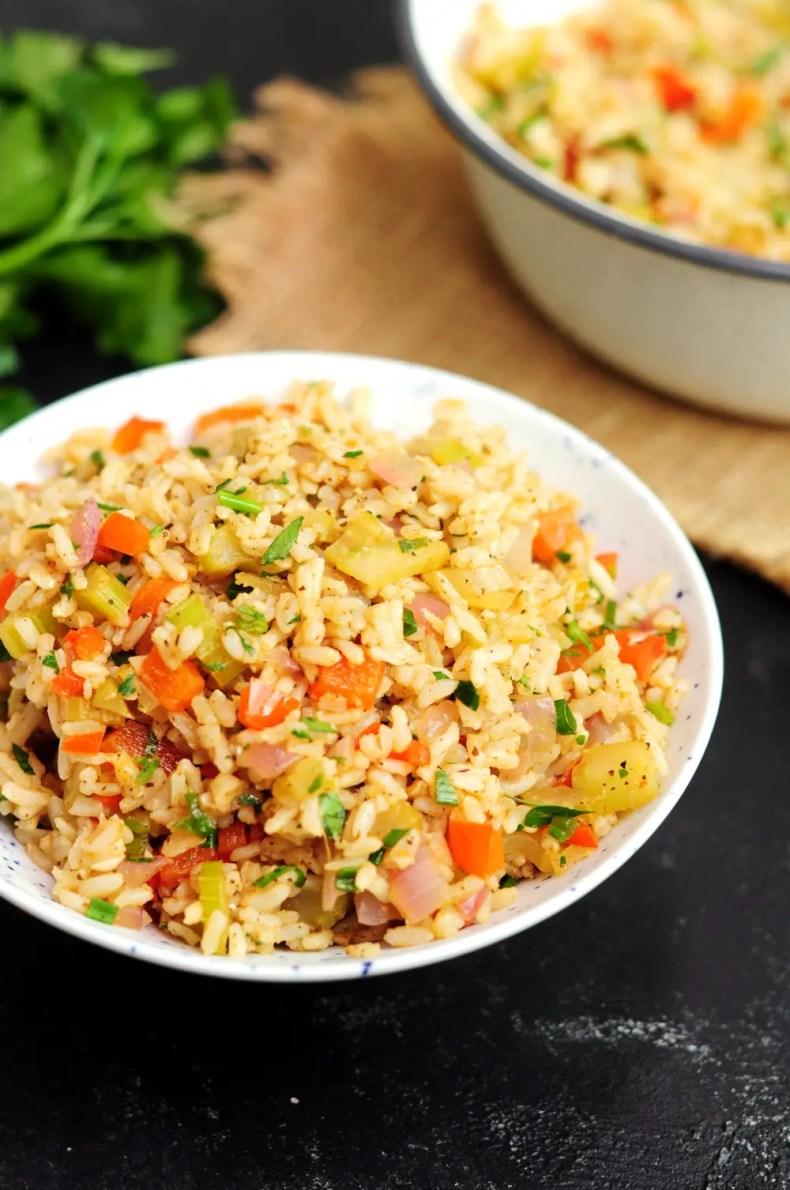 A bowl of meatless Cajun rice