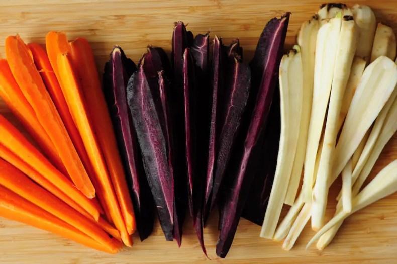 Cut carrots for sous vide