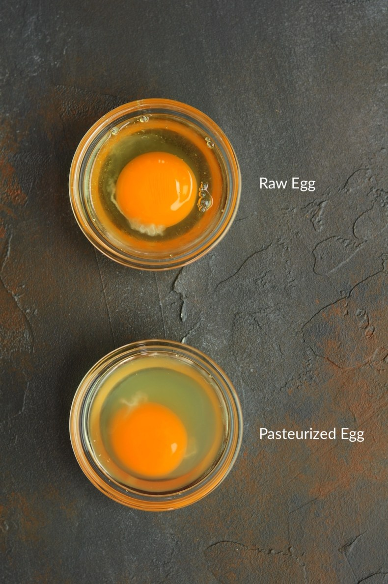 Raw egg and pasteurized egg white comparison