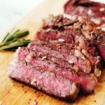 sous vide frozen steak - sliced