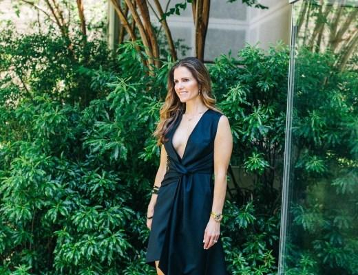 Acler LBD deep v-neckline, twisted waist, asymmetrical high-low hem, Dallas Fashion Blogger, Tiffany Davros, Isabel Marant lace up sandals, Jennifer Zuener love necklace