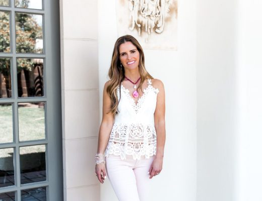 Fab White Lace + Nordstrom Anniversary Sale Giveaway// Dallas Fashion Blogger/ Tiffany Davros// Sleeveless Lace White Top// Closed Pink Crop Jean// Harper Hallam Jewelry//