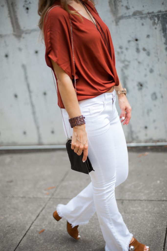 The Texas State Fair And Texas/Ou Weekend/Current/Elliott Jean/ Lizzie Fortunato/ Lush Twist Front Blouse/ Prada sphere suede mules/Dallas Style Blogger