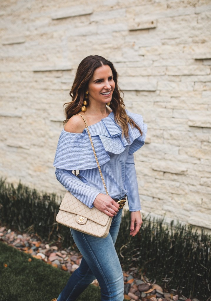 Fab One Shoulder Top Perfect For Spring Break & Beyond//Dallas Style Blogger//Stylekeepers One Shoulder Blouse//Closed Skinny Jeans// Gucci belt//Rebecca de Ravenel bonbon earrings// Chanel vintage bag//Sergio Rossi boots