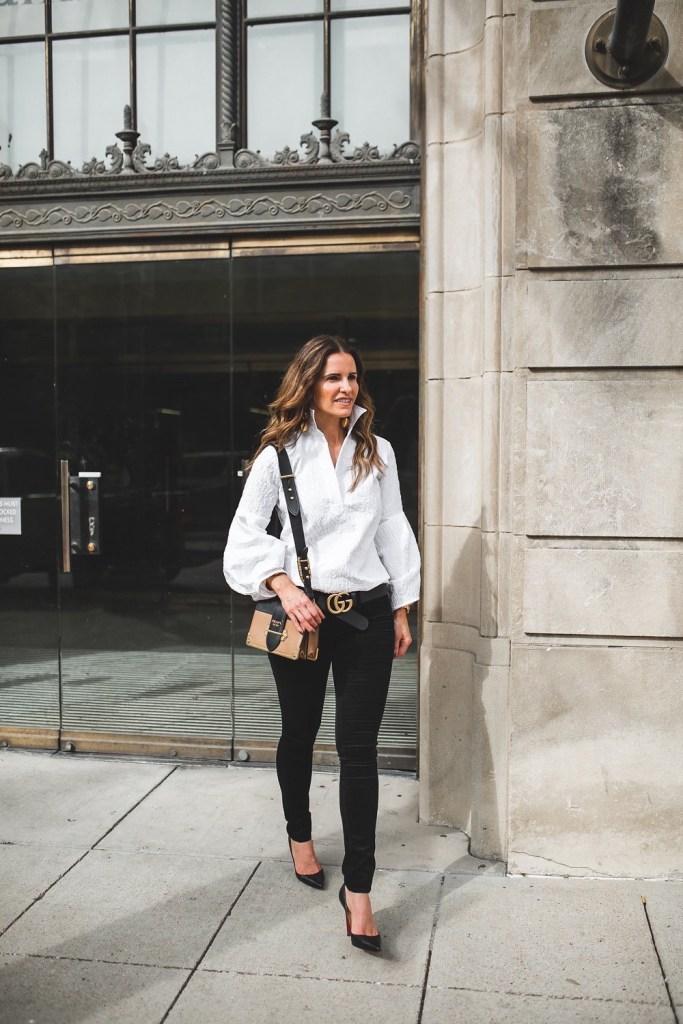 Dressy Or Casual Valentine Looks For All// Dallas Style Blogger/ Tish Cox // Rag & Bone Skinny Black Velvet Jean// Prada shoulder bag// Christian Louboutin Pump// Gucci logo belt// Rebecca de Ravenel bonbon earring