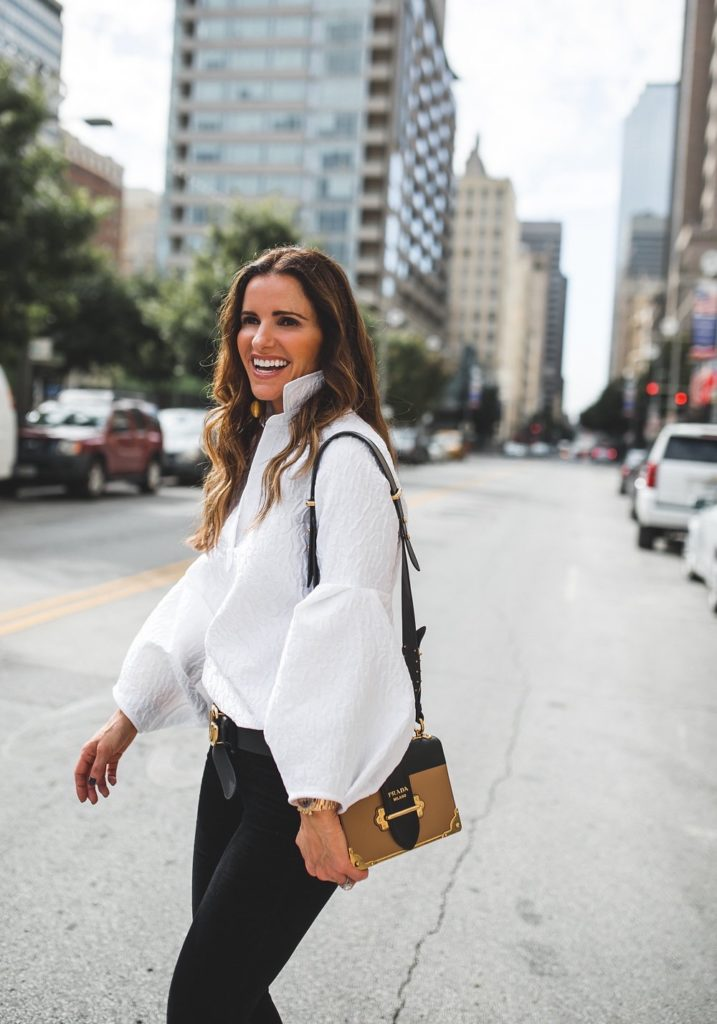 Dressy Or Casual Valentine Looks For All// Dallas Style Blogger/ Tish Cox // Rag & Bone Skinny Black Velvet Jean// Prada shoulder bag// Christian Louboutin Pump// Gucci logo belt// Rebecca de Ravenel bonbon earring