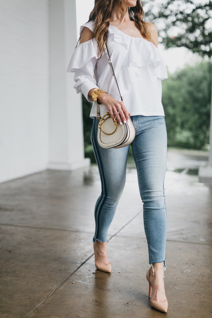 The Slimming Stripes 'Street Edit'// Dallas Fashion Blogger/ / Tiffany Davros// Mother Stunner Zip Ankle Step Fray Jeans // Clu Asymmetrical White Ruffle Top// Chloe Nile Leather Saddle Bag// Christian Louboutin Nude Pump// Nicola Bathie Designs // Harper Hallam