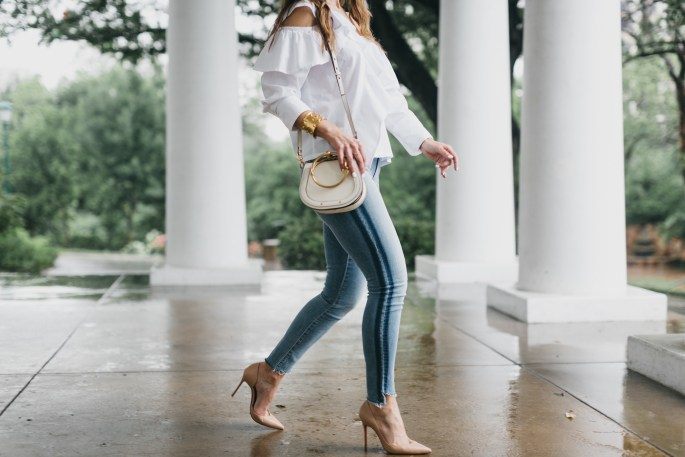 The Slimming Stripes 'Street Edit'// Dallas Fashion Bloggers/ / Tiffany T. Davros// Mother Stunner Zip Ankle Fray Jean// Clu White Ruffle Blouse// Chloe Small Saddle Leather Bag// Christian Louboutin Iriza Half d'Orsay Nude Pumps// Nicola Bathie Designs Earring// Harper Hallam Jewelry