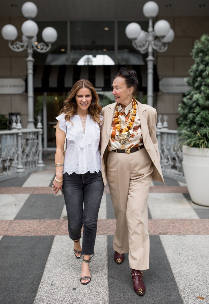 The Woman I Admire Most In The World// Dallas Style Blogger// Ulla Johnson Monroe White Blouse// GRLFRND Karolina Black Skinny Jeans// Marion Parke Denim Sandals// Gucci GG Shoulder Bag// Annie Costello Brown Earrings// Harper Hallam Jewelry