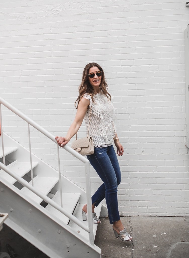 My Friends & Family Sale Picks// Dallas Fashion Blogger/ / Ted Baker Lace Top// Frame Le Skinny Jean// Gucci Marmont Fringed Metallic Leather Mules// Chanel Classic Bag// Nicola Bathie Earring