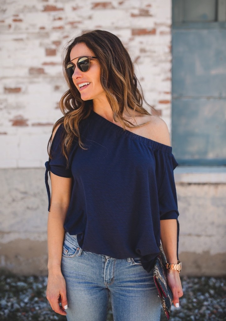 A Versatile Top That Can Be Worn Two Ways// Dallas Fashion Blogger/ / Tiffany Davros// Nation Ava off-the-shoulder slit sleeve tee// Mother the Stunner Frayed Ankle Skinny Jeans// Chloe Frayed Denim Espadrille Sandal// Archipelago Design Clutch// Dior 'So Real' 48mm Sunglasses