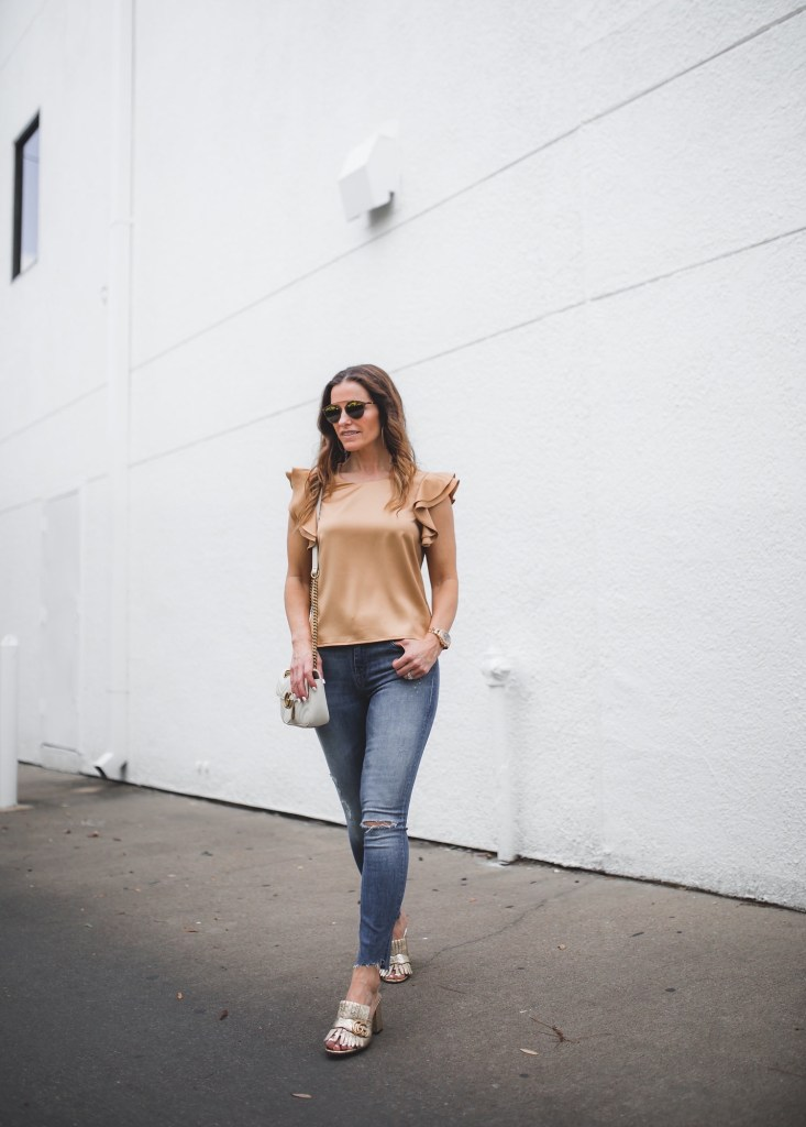 The Golden Hour My Mother's Day Gift Guide// Soprano Ruffle Satin Blouse// Dallas Style Blogger// Mother High Waist Looker Jean// Gucci Marmont Fringed Leather Mules// Gucci Marmont shoulder bag// Dior so real bar sunglasses// Taner Large Hoop Earrings