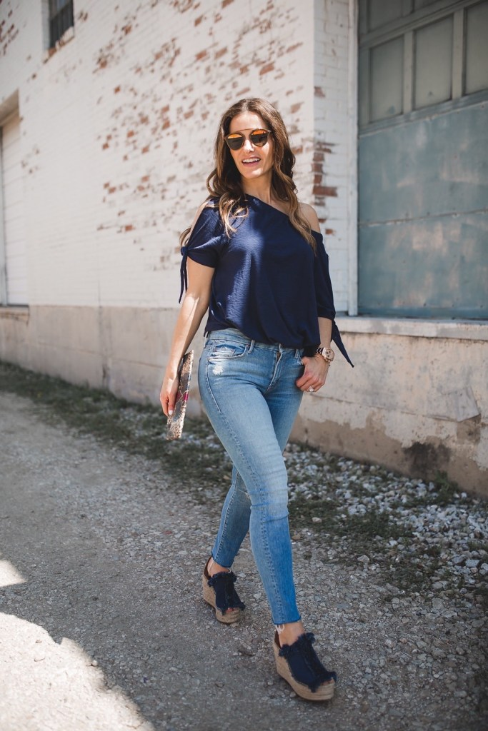 A Versatile Top That Can Be Worn Two Ways// Dallas Fashion Blogger/ / Tiffany Davros// Nation Ava off-the-shoulder slit sleeve tee// Mother the Stunner Frayed Ankle Skinny Jean// Chloe Frayed Denim Espadrille Sandals// Archipelago Design Clutches// Dior 'So Real' Sunglasses