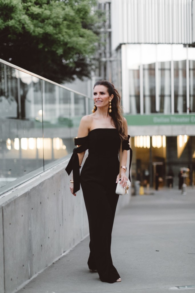 My RewardStyle Conference Looks// Dallas Fashion Blogger/ /Tiffany Davros// C/MEO Jumpsuit in Black// Gucci Marmont Fringed Metallic Mules// Chloe Small Nile Bag// Rebecca de Ravenel earrings
