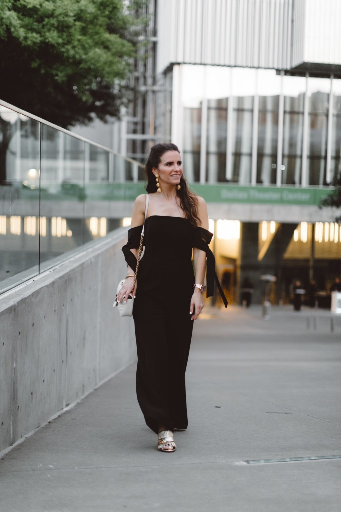 My RewardStyle Conference Looks// Dallas Style Blogger// C/MEO Black Jumpsuit// Gucci Marmont Fringed Metallic Leather Mules// Chloe Small Nile Saddle Bag// Rebecca de Ravenel earrings