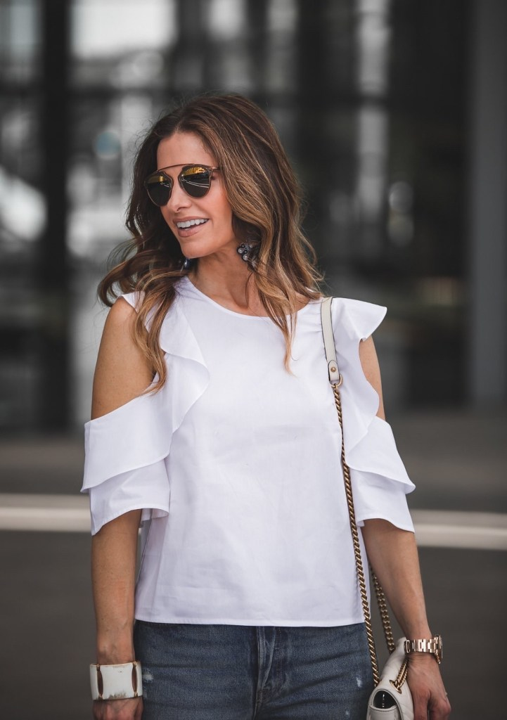 White Cold Shoulder Top Dior Sunglasses