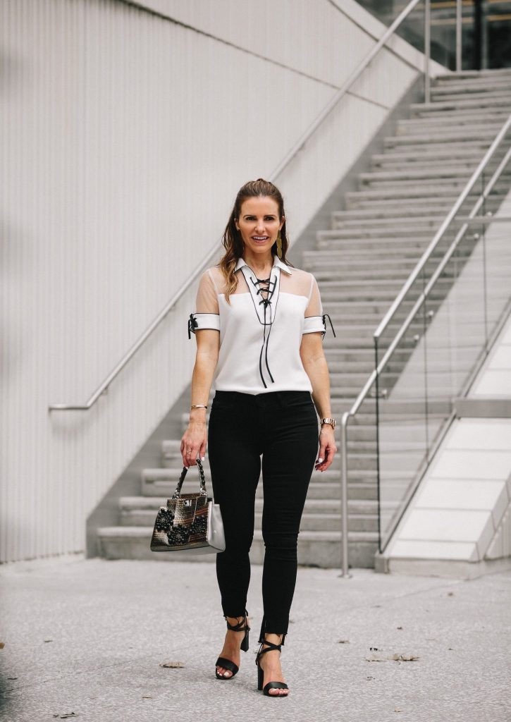 Anne Fontaine: Classics With An Edgy Elegance// Dallas Fashion Blogger/ /Tiffany Davros// Anne Fontaine Calvina Shirt// MARION PARKE Black Lisa Strap Sandal// Frame Le Skinny Stagger Hem Jeans// Thale Blanc Handbag// Annie Costello Brown Popova Earrings// Coordinates Collection Bracelet