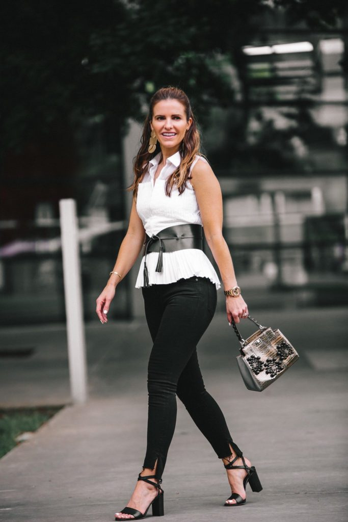 Anne Fontaine: Classics With An Edgy Elegance// Dallas Style Blogger// Anne Fontaine Caitlyn Top// Anne Fontaine The Feeling Belt// MARION PARKE Black Lisa Sandal// Frame Le Skinny Stagger Hem Jean// Thale Blanc Emma Handbag// Annie Costello Brown Popova Gold Earrings// Coordinates Collection Bracelet