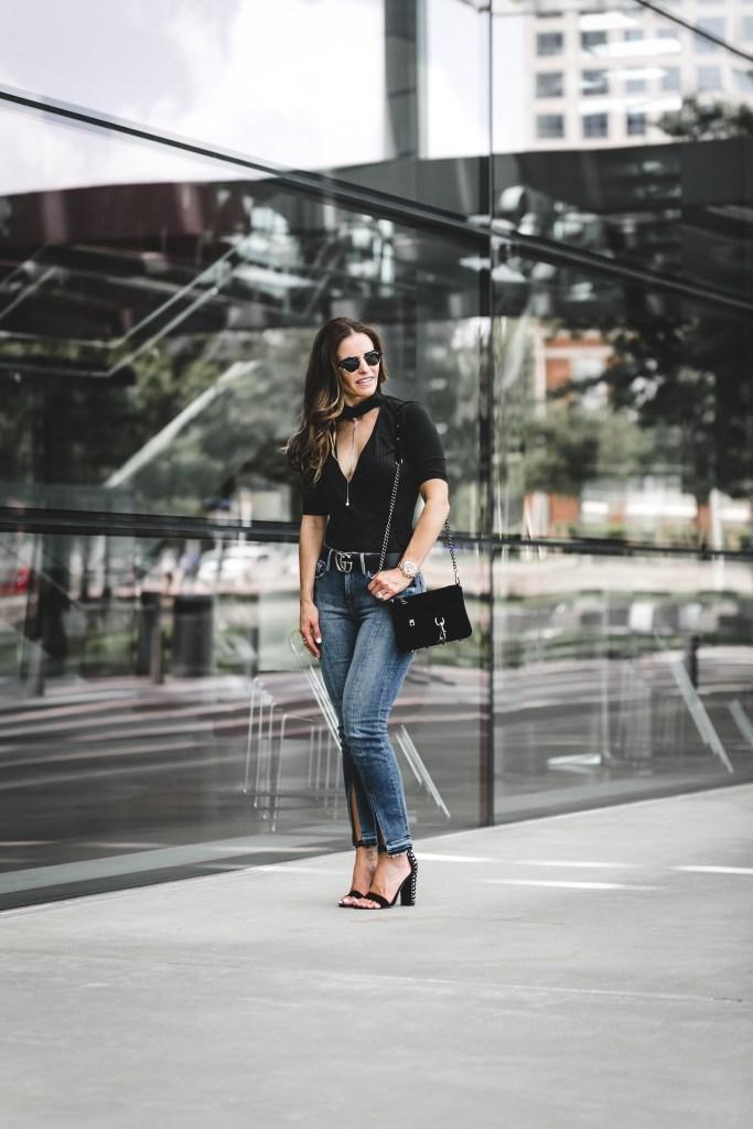 ASTR The Label Choker Bodysuit   Frame Le Nouveau Jeans   Rebecca Minkoff Velvet Crossbody Bag   Dolce Vita Hendrix Studded Heel  