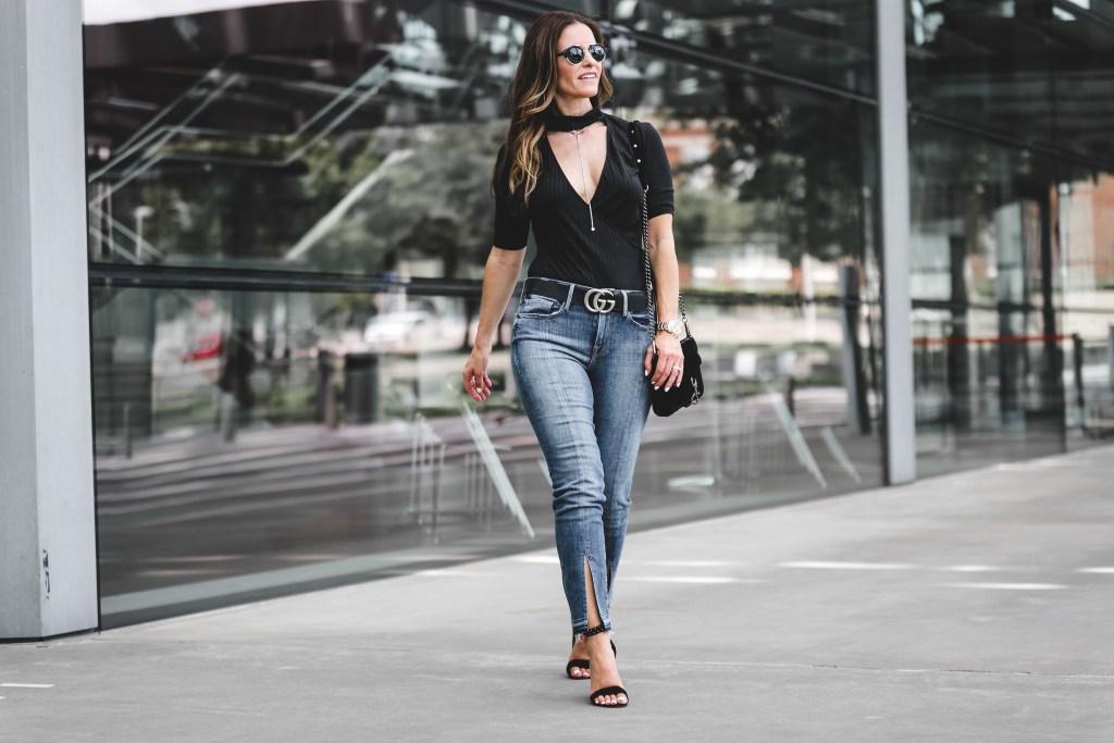 ASTR The Label Rib Choker Bodysuit | Frame Split Hem Jean | Rebecca Minkoff Mini Velvet Crossbody Bag | Dolce Vita Studded Sandal | Gucci Double G Belt
