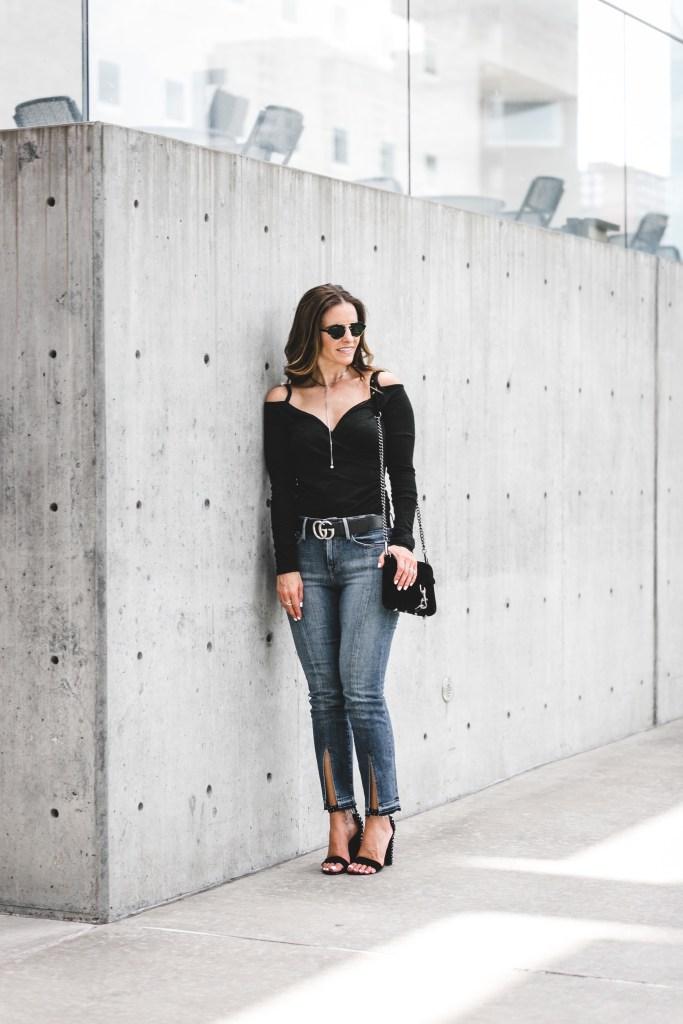 Leith Wrap Front Top   Frame Le Nouveau Jeans   Dolce Vita Studded Sandal   Rebecca Minkoff Mini MAC Velvet Crossbody Bag   Illesteva Mirrored Round Sunglasses