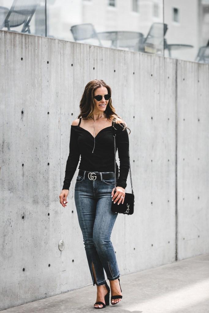 Leith Off the Shoulder Top | Frame Split Hem Jeans | Dolce Vita Studded Sandal | Rebecca Minkoff Velvet Crossbody Bag | Illesteva Round Sunglasses