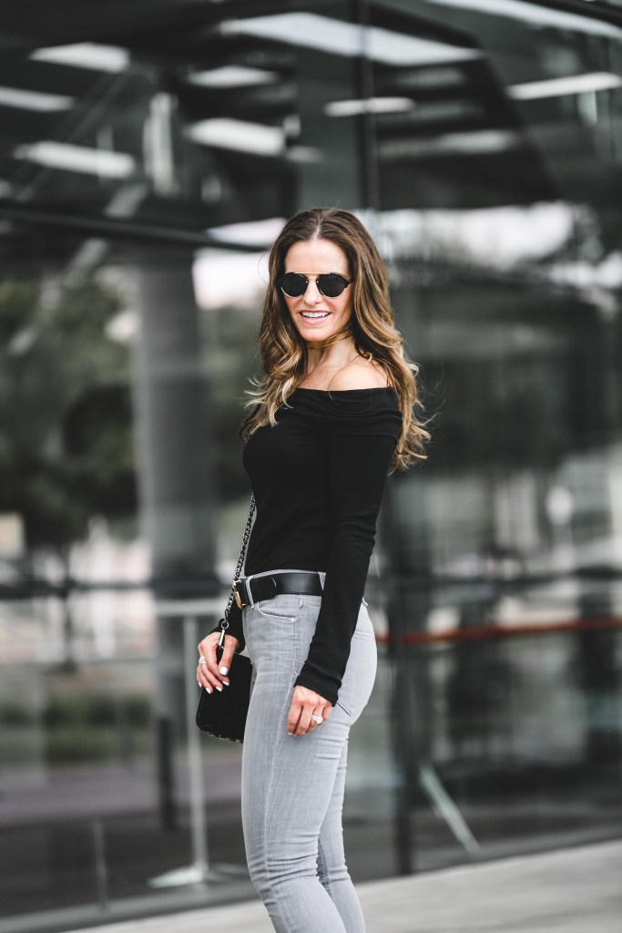 Halogen Rib Knit Off the Shoulder Top | Joe's Cool Off Charlie Step-Up Hem High Rise Skinny Jeans | Illesteva Milan II Mirrored Round Sunglasses | Argento Vivo Multirow Choker