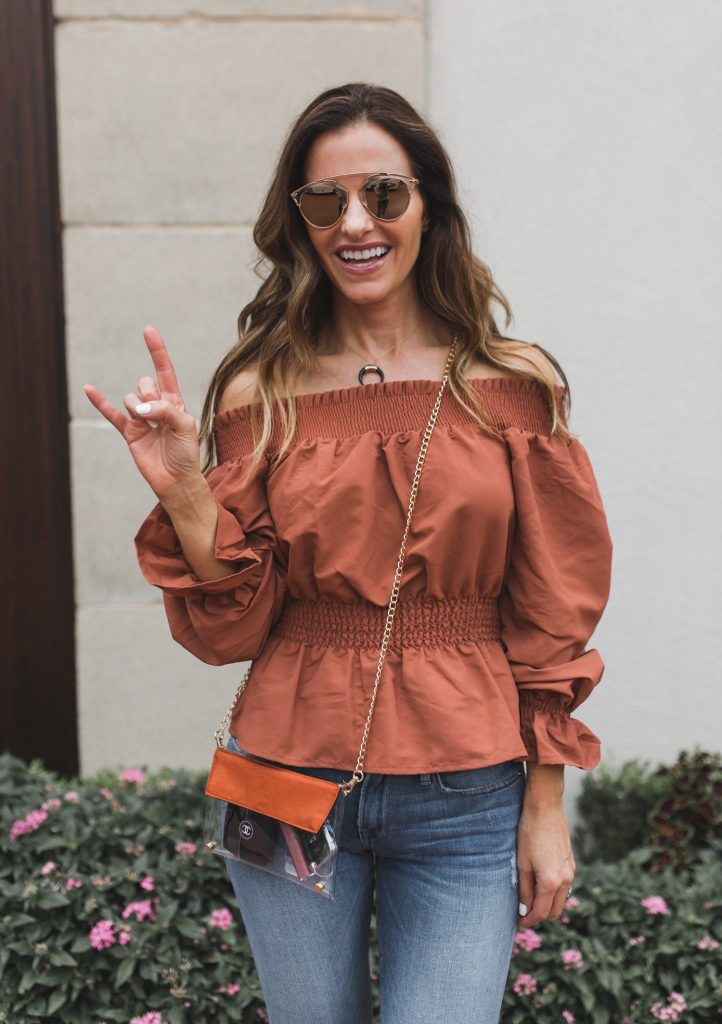 Kristyn Chambers Clear Victory Bag || TULAROSA X REVOLVE KATIE BLOUSE || Parpala Natural Bone Horn Necklace || Dior So Real Acetate Sunglasses