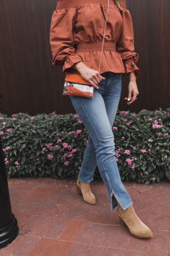 Kristyn Chambers Clear Victory Bag || TULAROSA Orange BLOUSE ||