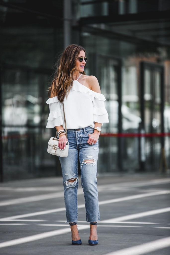 Parker Ruffled Cold-Shoulder Silk Blouse || MOUSSY Bowie Tapered Jeans || Marion Parke Maxine Heel || Gucci GG Marmont Shoulder Bag || Dior So Real Brow Bar Sunglasses