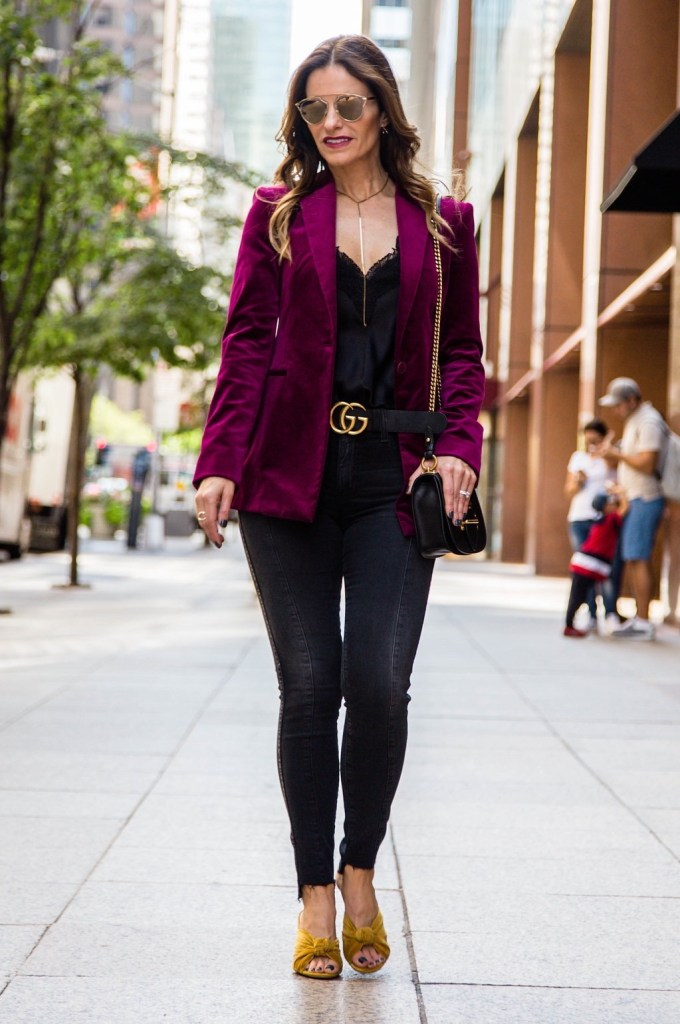 Theory Velvet Blazer || Cami NYC Racer Tank || AG The Farrah Skinny Jeans || Gucci Double G Belt || Parpala Marguax Lariat || Prada Curved Leather Crossbody Bag || Dior So Real Round Sunglasses || Loeffler Randall Knotted Velvet Sandals