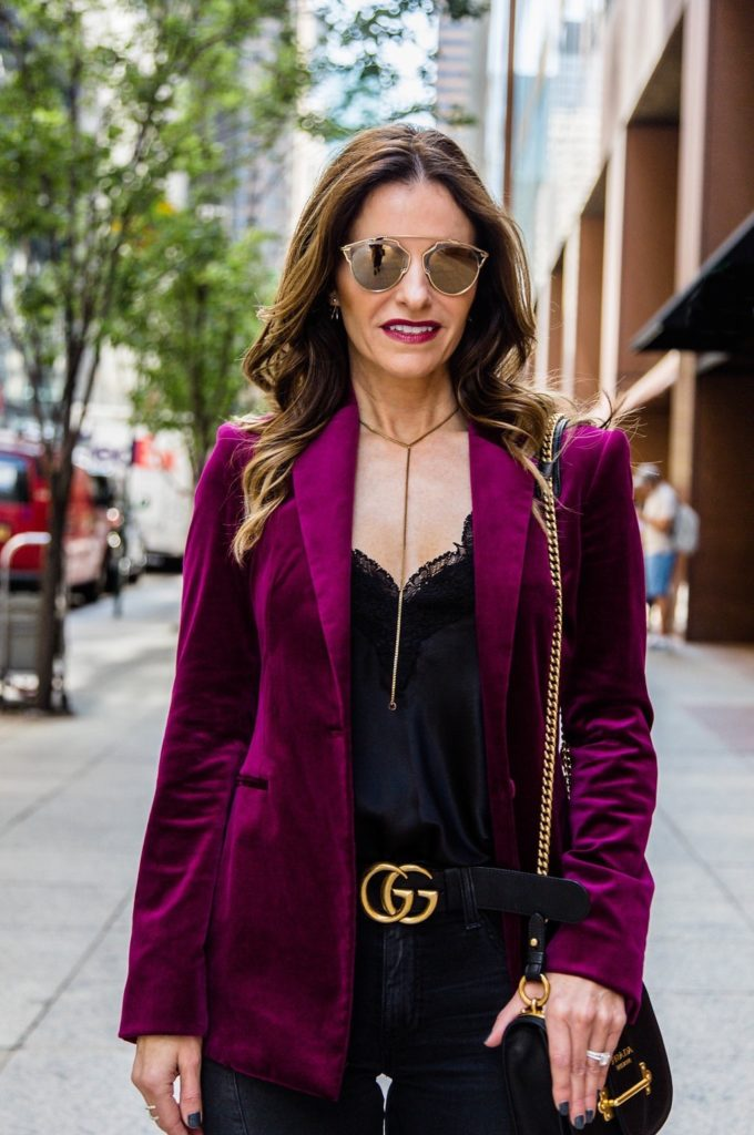 Theory Power Velvet Blazer || Cami NYC Charmeuse Tank || Gucci Double G Belt || Parpala Necklace || Prada Mini Crossbody Bag || Dior So Real Brow Bar Sunglasses