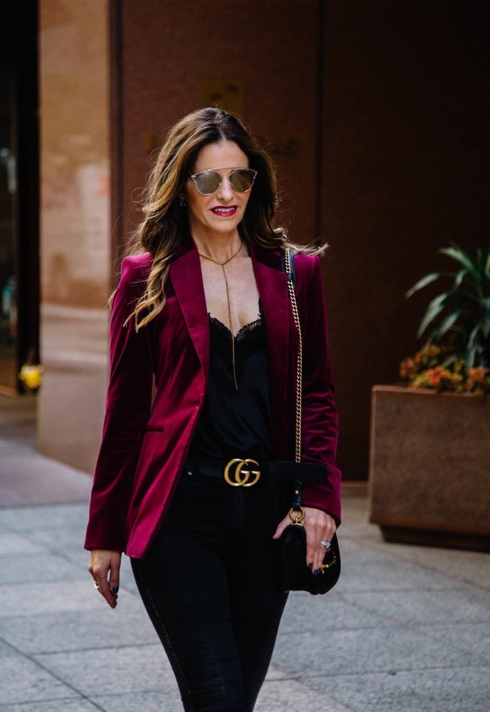 Theory Power Velvet Blazer || Cami NYC Racer Camisole || AG The Farrah Ankle Skinny Denim || Gucci Double G Belt || Parpala Marguax Necklace || Prada Mini Leather Crossbody Bag || Dior So Real Sunglasses
